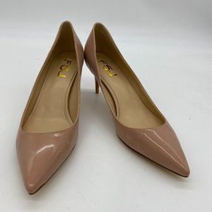 FSJ Nude Kitten Heels Pointy Closed Toe Pumps
